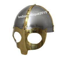 Armor-Deluxe-Viking-Mask-Helmet-W-Steel-Brass-Trim-Wearable