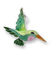 Zarah Zarlite Little HUMMINGBIRD CHARM Silver Plated & Enamel Bird - Gift Boxed