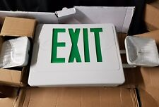 Exit Sign Duel Emergency Light Heads LED Green Letters White Body 1 or 2 face