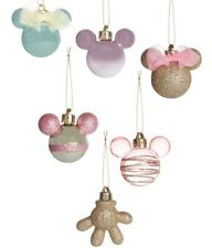PRIMARK Disney Mickey Mouse Minnie Christmas Tree Decorations x6 Baubles Pink