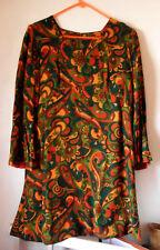 Genuine Vintage 60's-70's Mod London DRESS Psychedelic Flowers, Empire Waist M-L