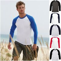 Mens Long Sleeve Raglan Baseball Casual Cotton T Shirt Tee Jersey Top Tee Tshirt