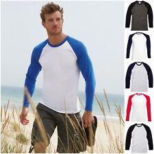 Mens Long Sleeve Raglan Baseball Casual Cotton T Shirt Tee Jersey Top Tee Tshirt