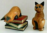 """Two  Wooden Carved Cat Figures Felines Kittens 6"""" Tall"""