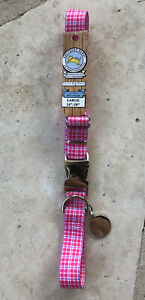 """NWT Southern Dawg Dog Collar Large 18""""-28"""" Preppy Plaid Pink With Tag Charm"""