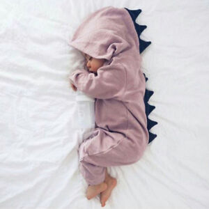 Newborn Baby Toddler Boys Girls Kids Bunny Hooded Pajamas Jumpsuit Outfit Winter