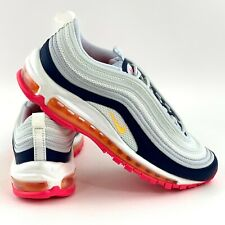 Nike Air Max 97 Platinum Navy Orange Women's Size 9 Sneakers Shoes 921733 015