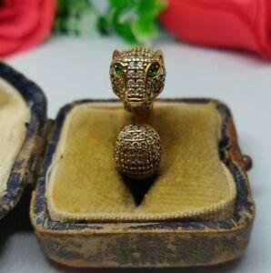 18ct Gold Panther Ring. 18k gold statement ring. Animal ring. Cocktail ring.