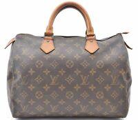 Authentic Louis Vuitton Monogram Speedy 30 Hand Bag M41526 LV A5092