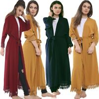 women ladies long kimono/open abaya/maxi style/lace belted cardigan