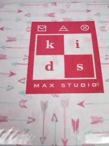 MAX STUDIO Kids 3pc ARROWS White Pink Blue Sheet Set - Twin