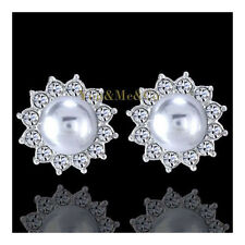 18k White Gold EP Brilliant Cut Crystal & 6mm Gray Round Pearl Stud Earrings