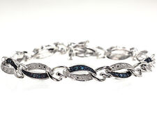Ladies White Gold Finish Genuine Blue Diamond Heart Link Bracelet 0.33 ct