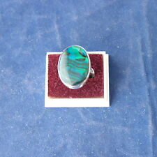 9.25 Silver Ring With  Blue Abalone Gem  4.1Gr. 2.5 x 2 Cm Wide Size  L - Q
