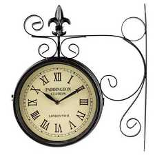 Paddington Station Clock Black Dual Face Antique Fleur De Lis Accent Vintage