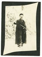 RPPC Portrait of a Hunter Rifle Gun Hunting in Snow Winter Real Photo Postcard
