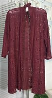NEW Plus Size 1X Red Burgundy Open Cardigan Duster Lace Crochet Jacket Topper