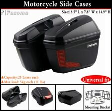 Motorcycle 23L Luggage Side Case Tail Top Box w/Mounting Bracket Universal Fit