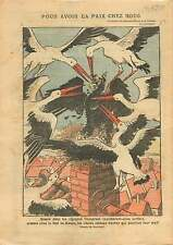 Caricature Politique Cigognes Alsace Elsass France Aigle Boche 1919 ILLUSTRATION