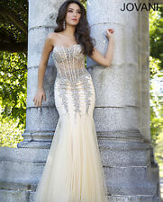 New Jovani Nude Strapless Corset Mermaid Silhouette Prom Evening Dress Sz 10 NWT