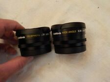 TWO VINTAGE CAMQUIP CAMERA LENSES TELEPHOTO 1.5X AND WIDE ANGLE 0.5X