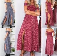 Women's Summer Casual Off Shoulder Floral Long Slits Maxi Dress Beach Sundress