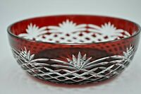 SET OF FOUR DIFFERENT Bohemian RUBY RED CUT GLASS TO CLEAR CRYSTAL BOWLS