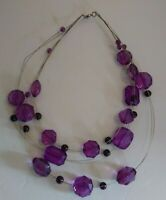 Vintage Lucite Statement Necklace Multi Strand Purple Beads Jewelry