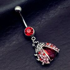 Ring Navel Piercing Nombril BodyJewelry Surgical Steel Garnet Heart Belly Button