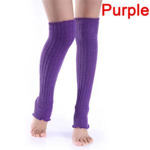 Women Lady Winter Long Leg Warmers Knit Crochet Leggings Stockings Socks ZC