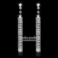 New Silver Diamante Crystal Rhinestone Strip Shape Long Earrings Wedding Prom