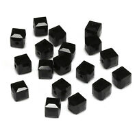 20pcs black 6mm Faceted Square Cube Cut glass crystal Spacer beads
