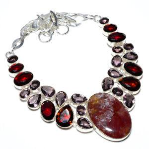 "Red Jasper & Amethyst- Handmade Gemstone 925 Silver Necklace 17.99"" T2757"