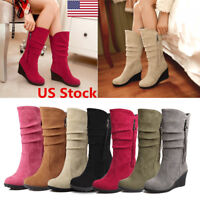 US FASHION LADIES WOMENS MID HIGH WEDGE HEEL WINTER SUEDE KNEE CALF BOOTS SIZE