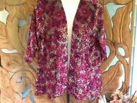 Travel Elements Open Cardigan Sweater Jacket Velvet Insets Plus 2X RTL$108