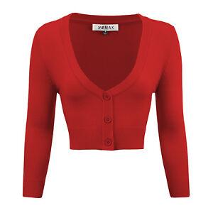 YEMAK Women's Cropped Bolero 3/4 Sleeve Button-Down Cardigan Sweater CO129(S-XL)