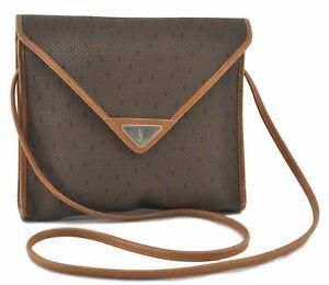 Authentic YVES SAINT LAURENT Shoulder Cross Body Bag PVC Leather Brown C9829