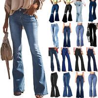 New Ladies Bell-Bottom Flare Denim Jeans High Waist Trousers Wide Leg Long Pants