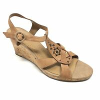 Women's Clarks 86685 Sandals Shoes Size 8M Cork Wedge Strappy Tan Leather V14