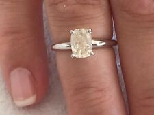 1.60 ct cushion cut white gold diamond engagement ring H COLOR I1