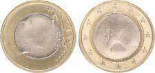 Fehlprägung: 1 Euro 2002 D mit fremdem Innenteil (zu klein und zu dünn) prfr.