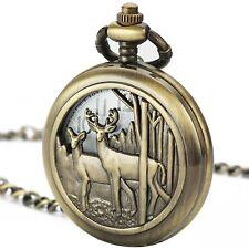 SIBOSUN Pocket Watch With Chain Deer Reindeer Woodland Men Smooth Back Case Box