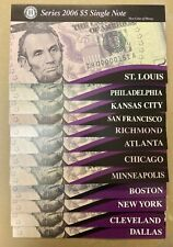 2006 FDR $5 Single note SET BEP 12 Single Notes New Uncirculated
