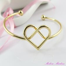 Infinity Knot Heart Cuff Bangle Bracelet Gold Plate