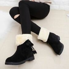 Womens Ladies Girls Winter Ankle Flat Faux Fur Lined Boots Warm Shoes Size 3-6.5