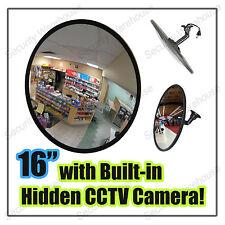 H9G 40cm CONVEX Blind Spot DRIVEWAY Shop MIRROR with Hidden CCTV Spy Cam Camera
