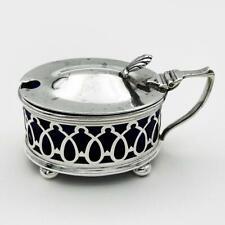 More details for george v sterling silver pierced mustard pot birmingham 1920 g m co