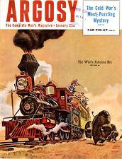 January 1953 Argosy HERB MOTT COVER Buffalo Hunt APACHE INDIANS Rolls Royce