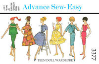 Vintage Advance 3377 - 11 1/2 inch doll clothes sewing pattern - barbie, etc