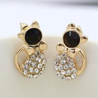 1 Pair Elegant Cats Ear Stud Animal Crystal Earrings Women Love Rhinestone Gold